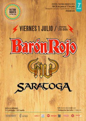 Cartel Barón Rojo Ñu Saratoga en el Festival Cultura Inquieta