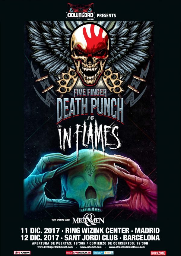 five finger death punch en madrid y barcelona en diciembre junto a in flames y of mice and men. Black Bedroom Furniture Sets. Home Design Ideas